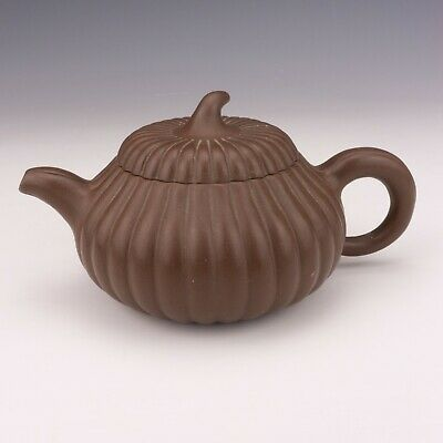 Antique Chinese Yixing Pottery - Oriental Gourd Formed Teapot - Unusual!