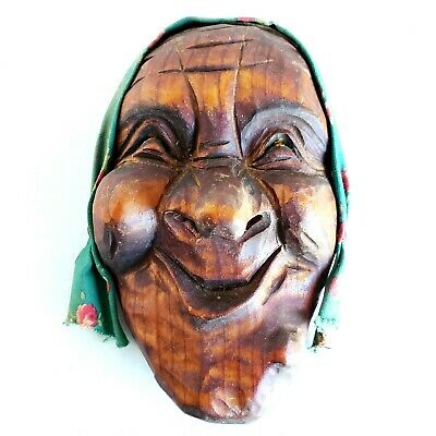 Vintage Black Forest Hand Carved Wood Face Holzbildhauerei Swiss Carving Kriens
