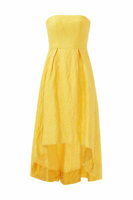 ML Monique Lhuillier Yellow Women's 12 Jacquard High Low Pleated Gown $698- #783