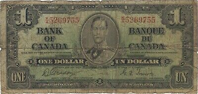 1937 1 One Dollar King George Vi Canada Currency Banknote Note Money Bill Cash