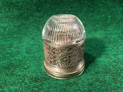 RARE Antique Signed Hand Cut Designs Paktong Opium Era Oil Lamp With Glass Globe