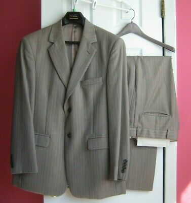 MENS STAFFORD Medium Brown Suit 42R, waist 35R x 30 – used