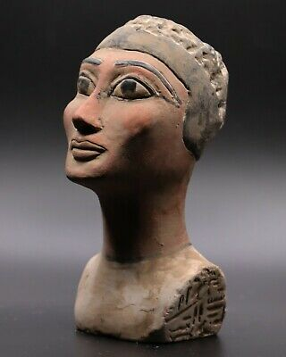 Rare Egypt Egyptian Antiques Queen Nefertiti Head Beautiful Statue Stone Bc