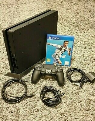 Playstation 4 Slim 500GB, with Controller & Cables. BOXED with FIFA19.