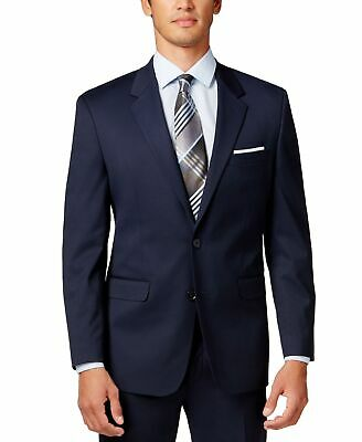 Alfani NEW Navy Blue Mens Size 48 Long Two Button Regular Fit Blazer $360 #093