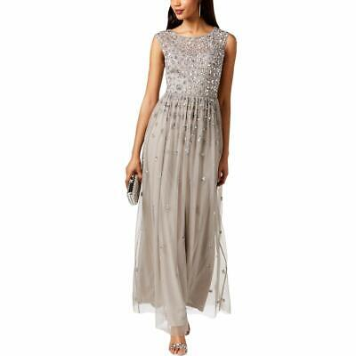 Adrianna Papell Women's Dress Gray Size 8 Sequined Illusion Gown $249 #198