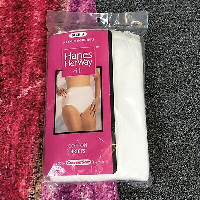 Vintage 1992 Hanes Her Way Comfort Soft White Cotton Womens Briefs Size 8