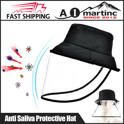 Anti Saliva Bacterial Bucket Hat+Protective Face Shield Dustproof Sun Hat Unisex