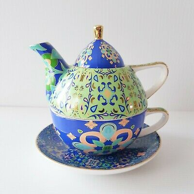 T2 Tea for One Teapot With Cup & Saucer - Blue & Green Moroccan Design