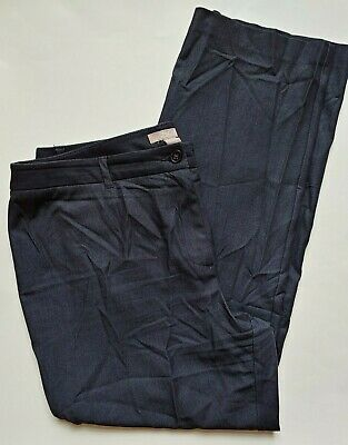 Chicos Dress Pants Size 3 Womens 16 Dark Blue Stretch Straight Leg High Rise
