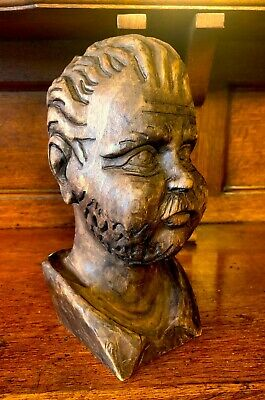 "c1870 Antique CARVED MAN'S HEAD Victorian Architectural Black Forest 8""x4"" WOW!!"
