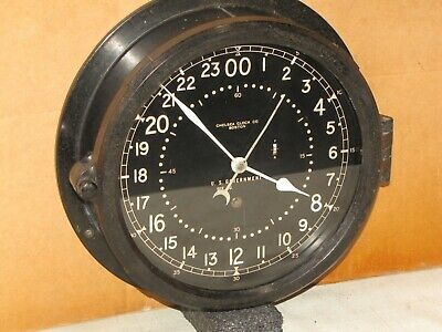CHELSEA U.S.AIR FORCE CLOCK~8 1/2 IN~CIRCA 1954~24 hr.DIAL~RESTORED