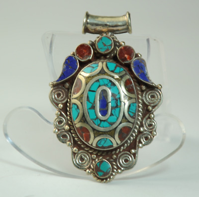 Collection chinese old hand-made Tibetan silver inlay Turquoise pendant 09/Aa02