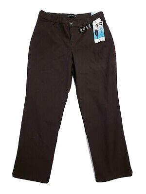 New Lee Relaxed Fit Straight Leg Brown Casual Pants Size 12P Petite Irregular