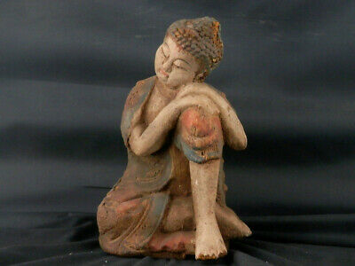 "8.4"" Exquisite Large Chinese Old Wood Hand Carved *Sitting Buddha* Statue W100"