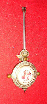 1885 Americn Glass Pendulum With Red/White Floral & Brass Floral Application