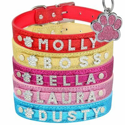 Personalized Dog Collar Dog Tags Custom Engraved Name Bling Leather Adjustable