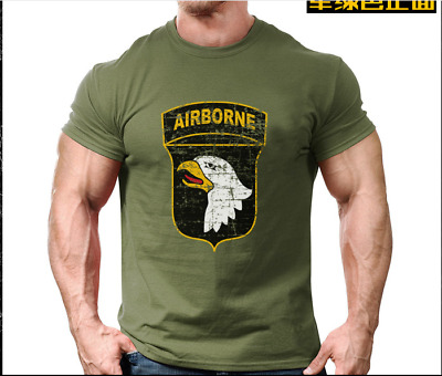Mens 101st Airborne Stencil Embroidered Long Sleeve Polo Shirts Men Shirts