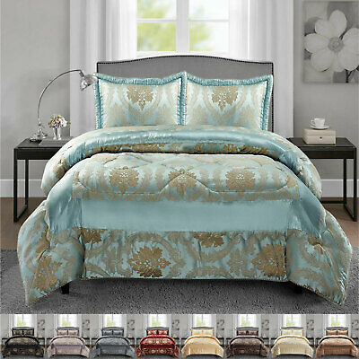 Quilted Bedspread King Size 3 Piece Bed Throw Comforter with Matching Pillowcase