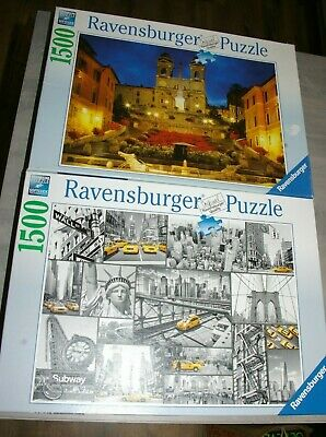 2 Ravensburger 1500 piece Jigsaw Puzzles The Spanish Steps & New York Cabs