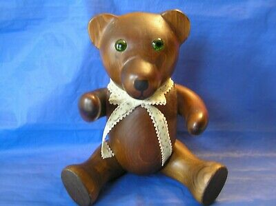 3pt8 RARE ANTIQUE ORIGINAL HAND-CARVED TL PLUM SOLID WOOD TEDDY BEAR SEATED USA