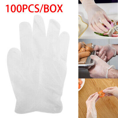 UK 100X Disposable PVC Gloves Protective Transparent Plastic Safety  Mittens NEW