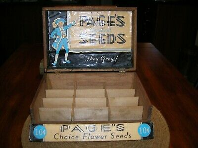 Antique Country Store Display Wood Box Page's Flower Seeds Oak Dovetail