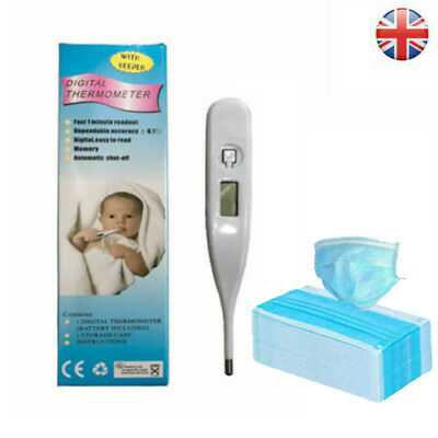 Digital LCD Thermometer Medical  Display Oral Ear Underarm Audible Fever Alarm
