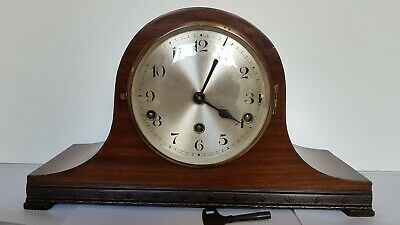German Drgm Wooden Mantle Clock - With Pendulum And Key.