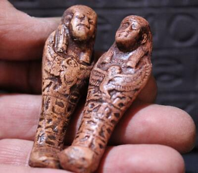 PAIR OF ANCIENT EGYPTIAN TOMB FIGURINES stone statues ancient replicas