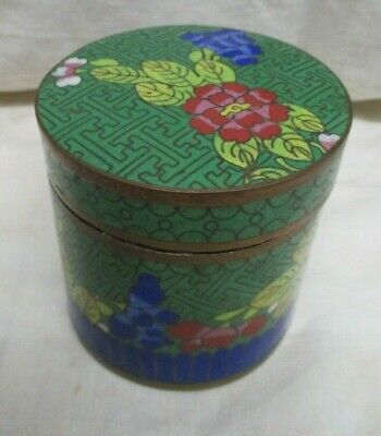 """Antique Chinese Oriental Cloisonne Round Trinket Box W/ Lid 3"""" Ht Hand Painted"""