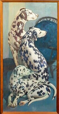 Large Early 20th Century Portrait Of Dalmatian Dogs Antique Oil Painting
