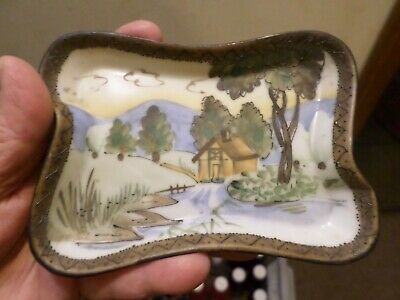 "Vintage Nippon Hand Painted Porcelain Trinket Tray HAND PAINTED 4 1/2"" by 3"