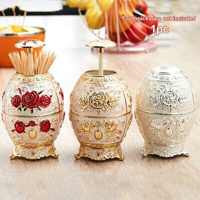 Carved European Style Automatic Toothpick Box Table Decoration Zinc Alloy Home