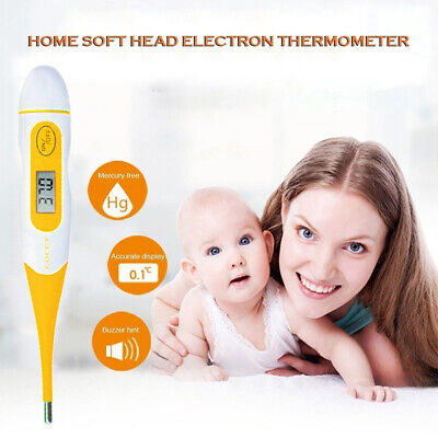 Medical Digital Thermometer LCD Display Oral Ear Underarm Audible Fever Alarm