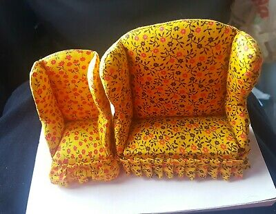 Vintage Doll House Couch, and Matching Chair.The little Mouse Factory