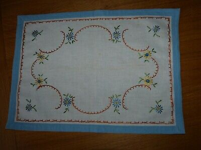 Vintage hand-made embroidered tray cloth approx 34.5 x 47.5cm, linen?