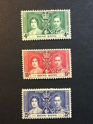 Hong Kong (264) 1937 Coronation SG#137-9 MH set cv £20