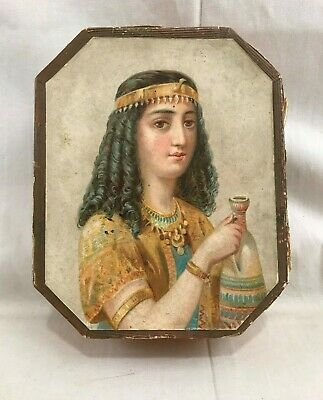 Great Orig. c1890's Egyptian Revival Paper over Cardboard Lidded Box w/ Handle