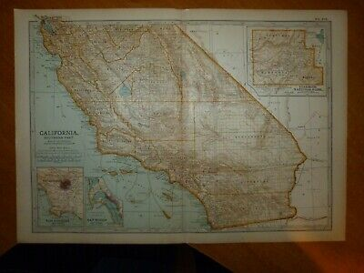 Encyclopaedia Britannica OLD antique 1903 Map of Southern California USA