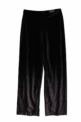 Alfani Women's Pants Black Size XL Casual Velvet Pull-On  Foil Stretch $79 #268