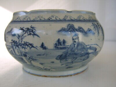 Large Old Antique Chinese Blue White Bowl Very Early Antique Possibly Ming