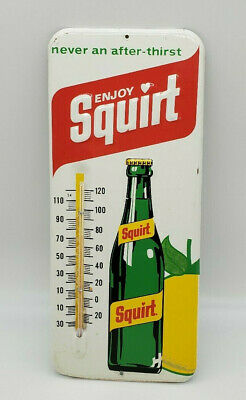 Vintage Squirt Soda Tin Thermometer Original Store Sign Embossed Working 1971