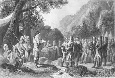 George WASHINGTON READING PRAYERS at VALLEY FORGE ~ Old 1870 Art Print Engraving
