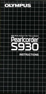 Olympus Pearlcorder S930 Instruction Manual