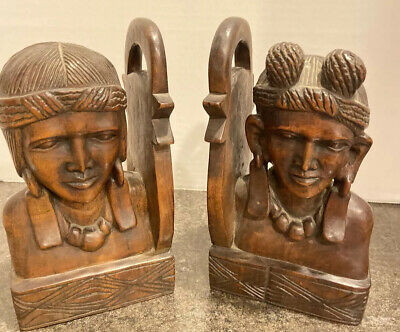 Wood Bookends Hand Carved Possible Polynesian vintage Two Men Detailed