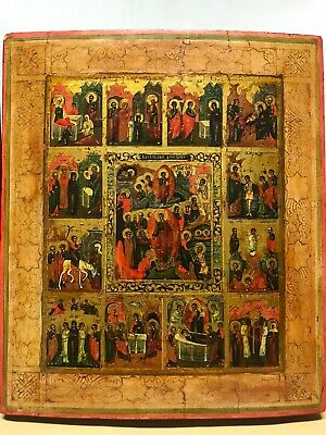 Antik Ikone Russland Auferstehung Festtag Russian Icon Resurrection Feasts