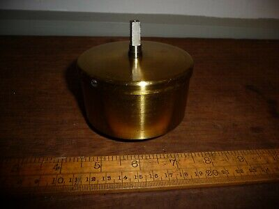 Large Antique / Vintage Clock Spring in lacquered Brass case -8.2cm x 4.3cm deep