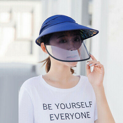 Clear Protective Face Sun Hat Removable Anti- Fog Saliva Windproof Cap Nett