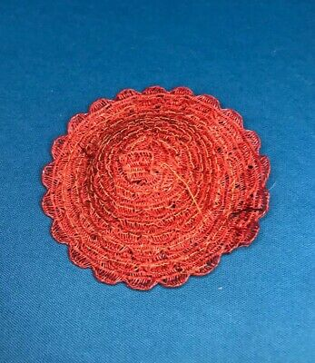 "Vintage RED straw hat for 8"" dolls Ginny, Ginger, Muffie 1950s"